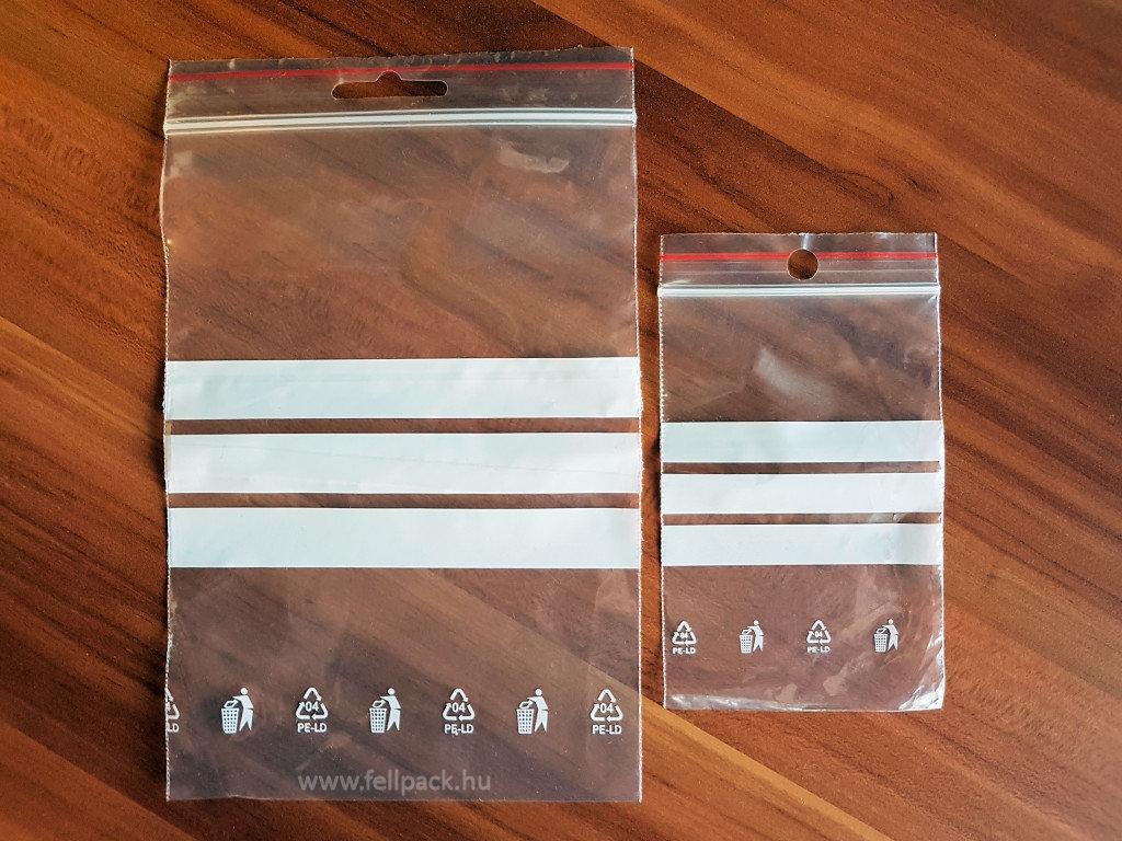 Írható felületű simítózáras tasak